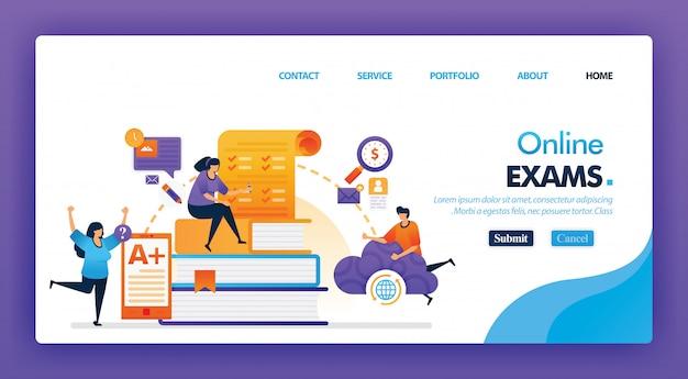 Люди берут онлайн экзамен концепции дизайна для целевой страницы.
