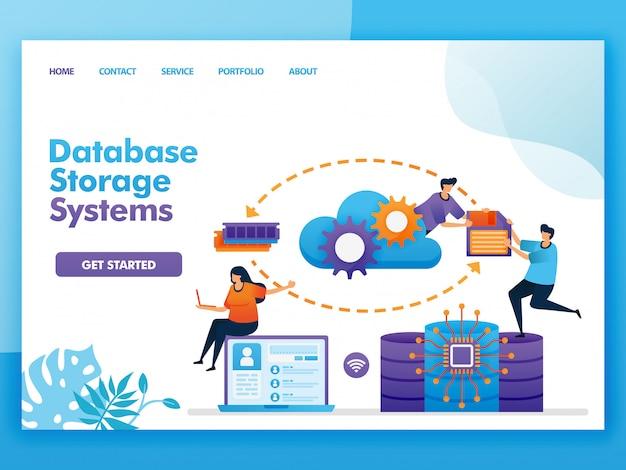 データベースストレージシステムのフラットイラストデザイン。