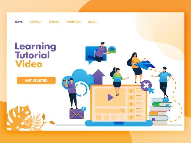 Векторная иллюстрация плоский стиль обучения учебник видео.