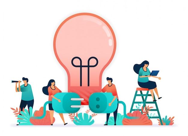 Векторная иллюстрация лампочек для освещения с электричеством. подключите вилку и розетки.