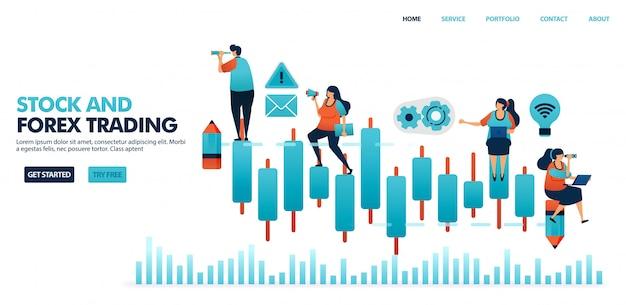 外国為替取引、株式、投資信託、商品、通貨のローソク足チャート。