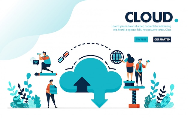 База данных и облако, загрузка через интернет и загрузка в облачную хостинговую систему и услуги аренды хранилища.