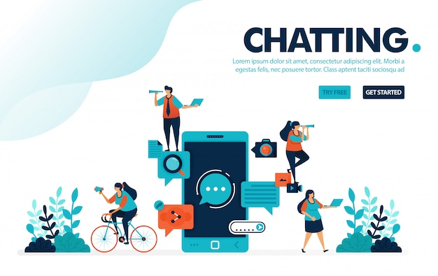 チャットアプリ、モバイルアプリと通信してメッセージをやり取りする人々。