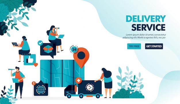 Служба доставки автотранспортом и курьером, поиск местоположения пункта с картой для доставки товара