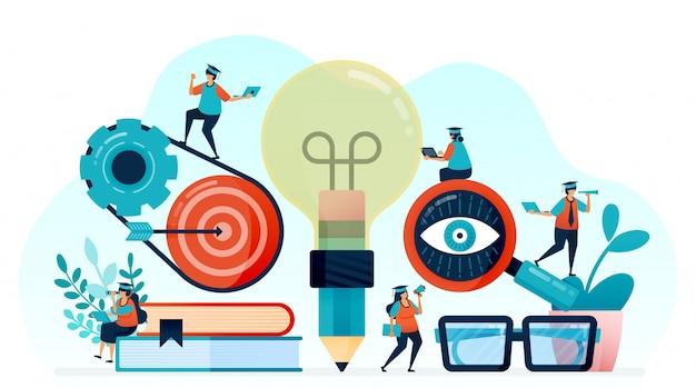 学生の学習のアイデアとインスピレーション、電球付きの鉛筆。