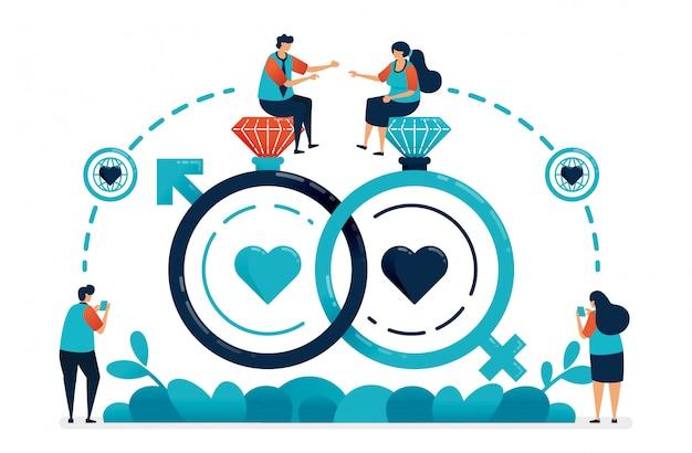 結婚と婚約の結婚指輪とセックスシンボル。愛のつながり。