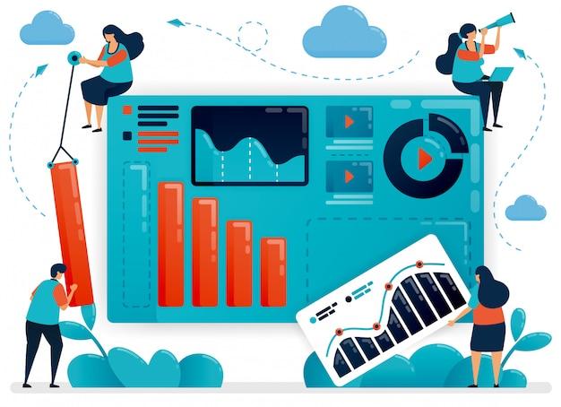 Совместная работа для создания бизнес-портфолио. диаграмма и схема для анализа стратегии. статистика роста компании. развивающий стартап.