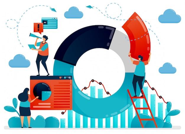 円グラフとグラフの統計データを使用した企業戦略。ビジネスのパフォーマンスと成長を最適化するための計画と調査。