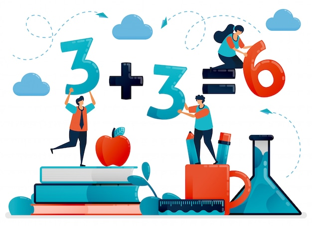子供のための教育のイラスト。数と数への数学のレッスン。学校で学ぶ子供たち。幼稚園