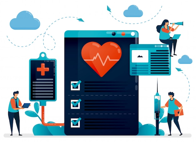 Иллюстрация медицинской кардиологии проверить на здоровье. больница, клиника, лаборатория для диагностики и лечения заболеваний сердца