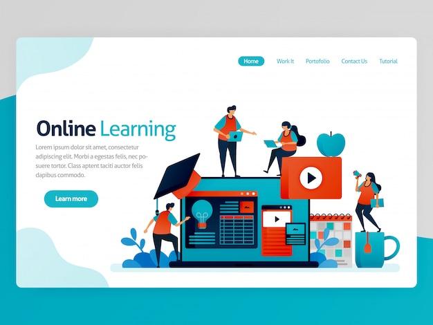 オンライン学習のランディングページの図。通信教育。教育効率のアイデア。会計レッスン、学習プラットフォーム、チュートリアルビデオ
