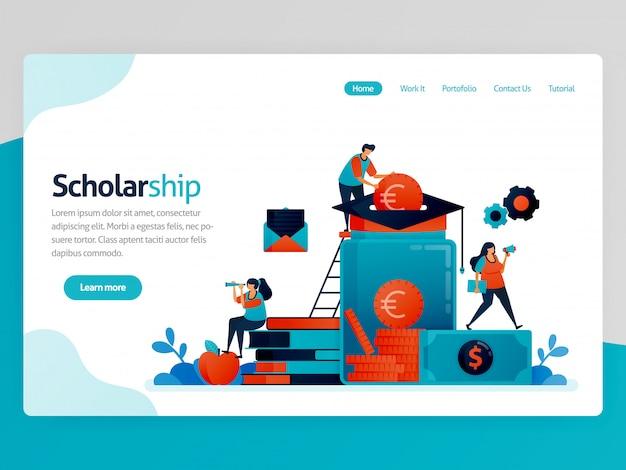奨学金のランディングページのイラスト。優秀な学生のための奨学金プログラム。寄付と教育の節約。研究のための資金援助
