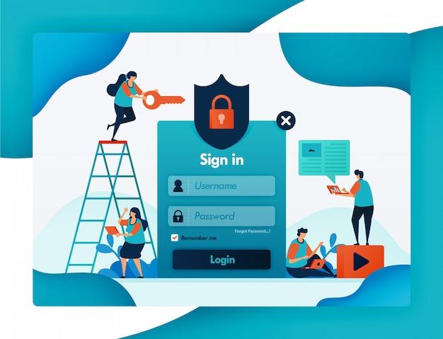 Шаблон входа на сайт для защиты учетной записи пользователя, безопасности и защиты для конфиденциальности и шифрования брандмауэра для безопасности пользователя, пароля и имени пользователя.
