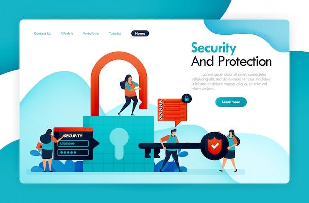 Целевая страница для обеспечения безопасности и защиты, блокировки и блокировки, взлома пользовательских данных, конфиденциальности и финансовой защиты, защищает цифровую систему, безопасный учет данных.