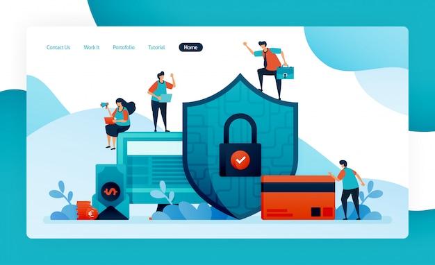 金融セキュリティのランディングページ、投資、クレジット、ローン、債務、貯蓄の銀行保護。顧客データのセキュリティとプライバシー、支払い、購入、購入。
