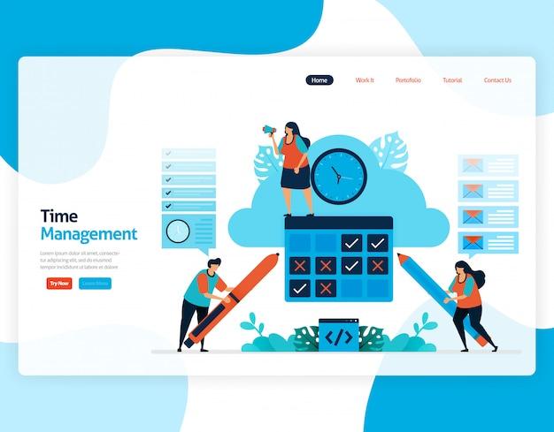 Целевая страница управления временем и планирования рабочих мест проекта, планирование и управление работой в срок, нехватка времени в бизнесе, работа со временем.