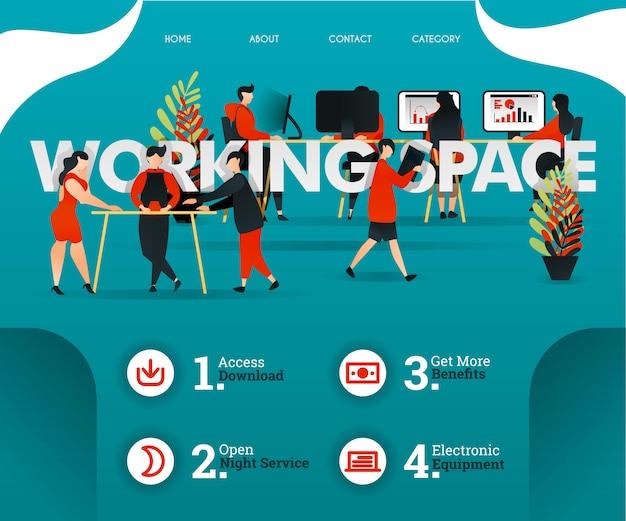 Рабочее пространство зеленый веб-концепция