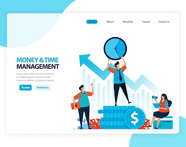 時間とお金の管理のイラスト。将来のために金融基金を組織し、計画します。フラット漫画