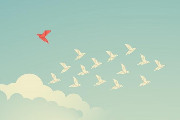 ミニマリストスタイルの赤い鳥