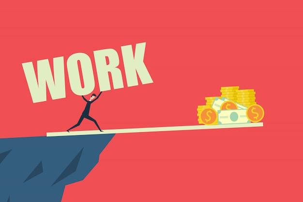 Бизнес финансы концепция, сложная работа, чтобы заработать деньги и добиться успеха. плоский дизайн