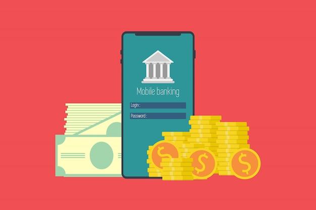 Концепция мобильного банкинга. денежные операции, технологии, бизнес, мобильный банкинг и мобильные платежи. плоский дизайн