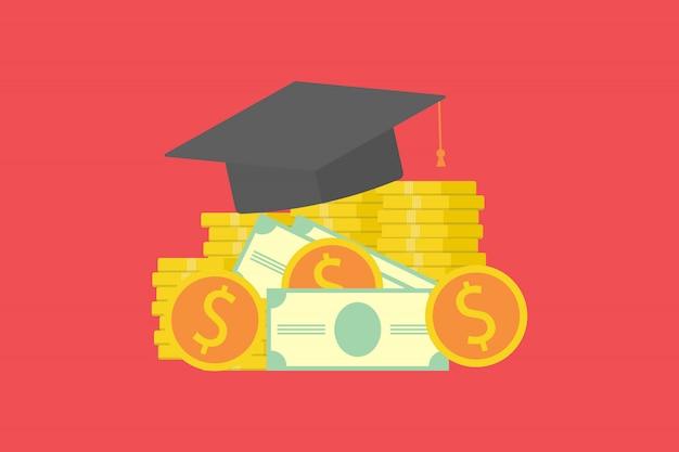 Инвестиции в образовательную концепцию. кепка выпускника на пачку денег и монет. концепция экономии денег на стипендию. плоский дизайн