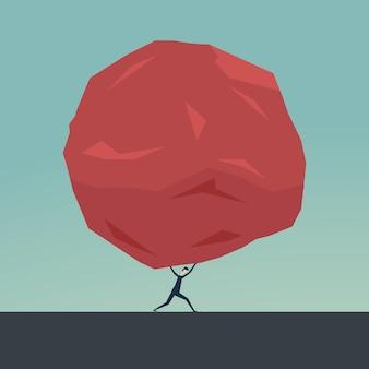 ビジネスマンと巨大な石。ビジネス問題の危機の困難と負担の概念