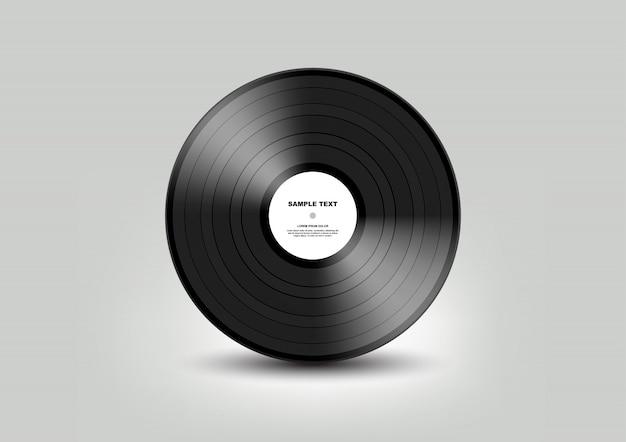 Черная виниловая пластинка на белом фоне, иллюстрация