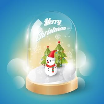 クリスマスのメリークリスマスガラスのドームの雪だるま、等角図、ベクトル
