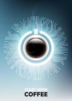 電源ボタンとマイクロチップのコンセプトを備えた現実的なブラックコーヒー