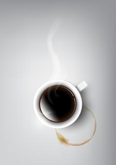 黒のコーヒーとコーヒーカップのステンド、イラストベクトルの現実的なカップ