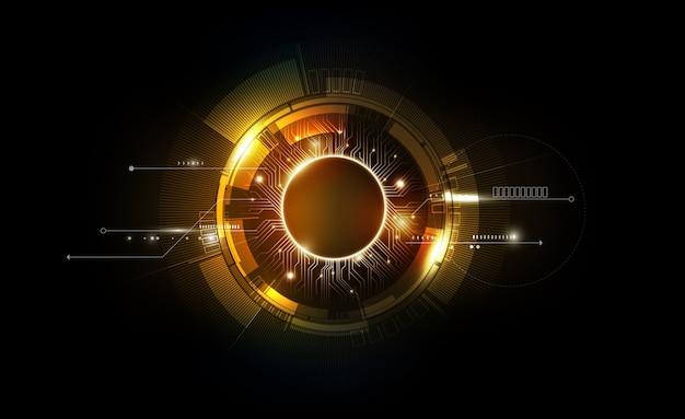 ゴールド抽象的な未来的な電子回路技術の背景