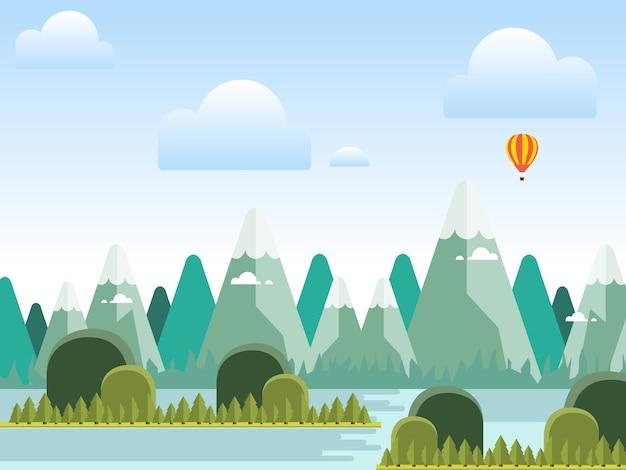 山の風景のフラットスタイルのベクトルの背景
