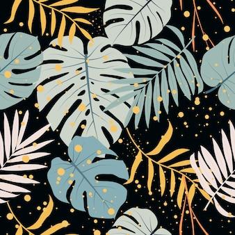 熱帯葉シームレスパターン