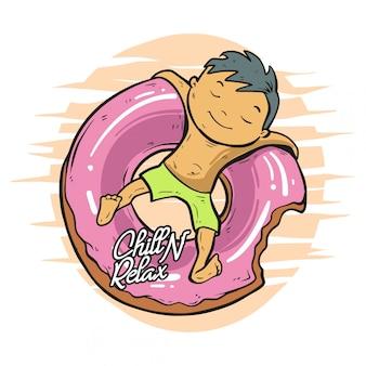 Мальчик холод на пончики иллюстрации