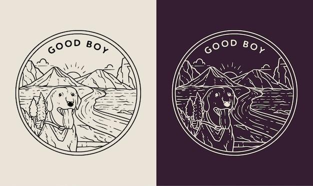 Пейзаж с собаками монолинейный значок