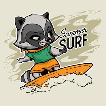 Еноты серфинг премиум вектор