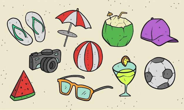 Набор летних вещей премиум иллюстрации