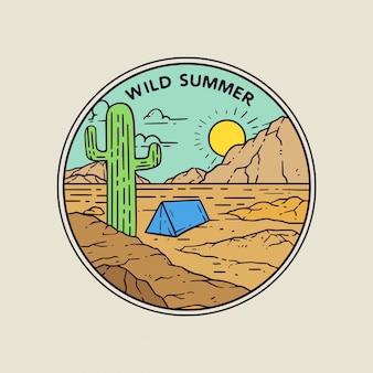 Дикий летний пустынный монолайн иллюстрация