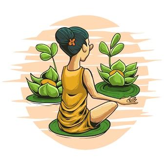 Медитация в природе иллюстрации