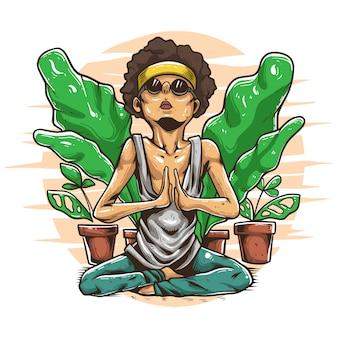 Йога тренер медитирует иллюстрации