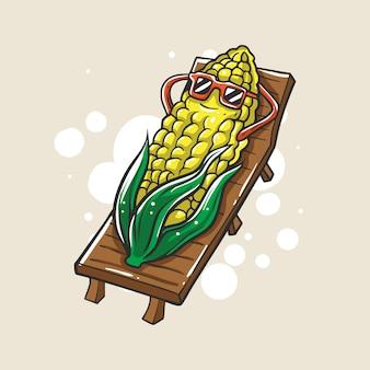 トウモロコシのキャラクターのイラストは夏にリラックスしています