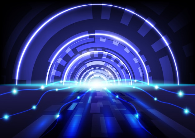 Абстрактный высокотехнологичных цифровых технологий синий фон вектор