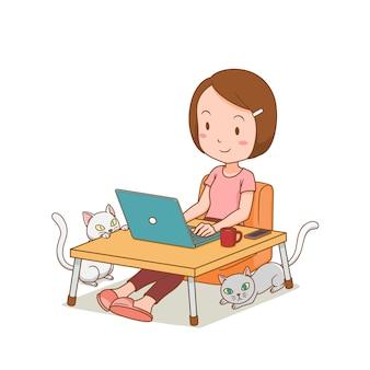 Мультипликационный персонаж фрилансер девушка работает на дому с ноутбуком.