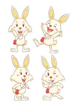 さまざまなポーズで赤いお金の袋を持つかわいい漫画ウサギのセットです。