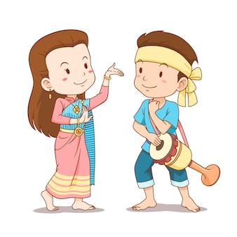 伝統的なタイダンサーのかわいいカップル漫画。タイのロングドラムダンス。