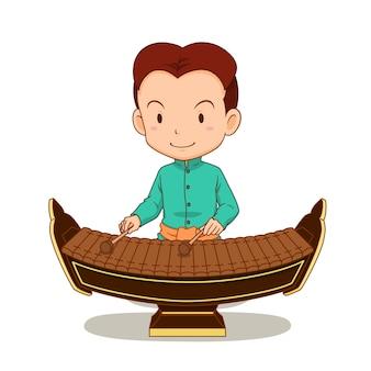Мультипликационный персонаж мальчика, играя ранад. тайский музыкальный инструмент в семье ударных.
