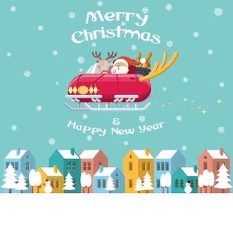 Санта летает сани автомобиля на зимний город