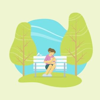 Мать, играя с ребенком на руках, сидя на белой скамейке в парке с птицами и деревьями в плоском стиле