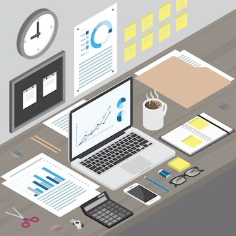 木製の机の上の等尺性ワークスペースラップトップコンピューターとオフィス用品